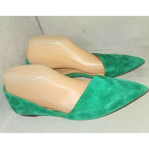 J.CREW Sloan Size 9 Green Suede D'Orsay FLATS